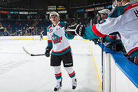 KELOWNA, CANADA - SEPTEMBER 2: Defenseman Kaedan Korczak #6 of the Kelowna Rockets celebrates a second period goal against the Victoria Royals on September 2, 2017 at Prospera Place in Kelowna, British Columbia, Canada.  (Photo by Marissa Baecker/Shoot the Breeze)  *** Local Caption ***