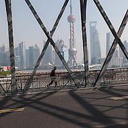 China, Shanghai. Pudong slyline and Waibadu bridge view from the Bund