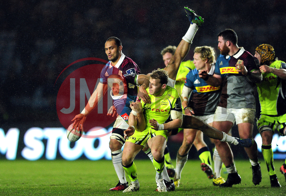 Aaron Morris of Harlequins competes with Will Addison of Sale Sharks for the ball in the air - Mandatory byline: Patrick Khachfe/JMP - 07966 386802 - 03/02/2017 - RUGBY UNION - The Twickenham Stoop - London, England - Harlequins v Sale Sharks - Anglo-Welsh Cup.