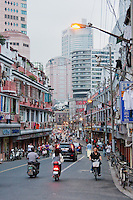 street scene in early evening in Shanghai China