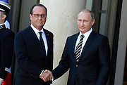 VLADIMIR POUTINE, FRANCOIS HOLLANDE - NORMANDY FORMAT SUMMIT ON THE SITUATION IN UKRAINE<br /> ©Exclusivepix Media