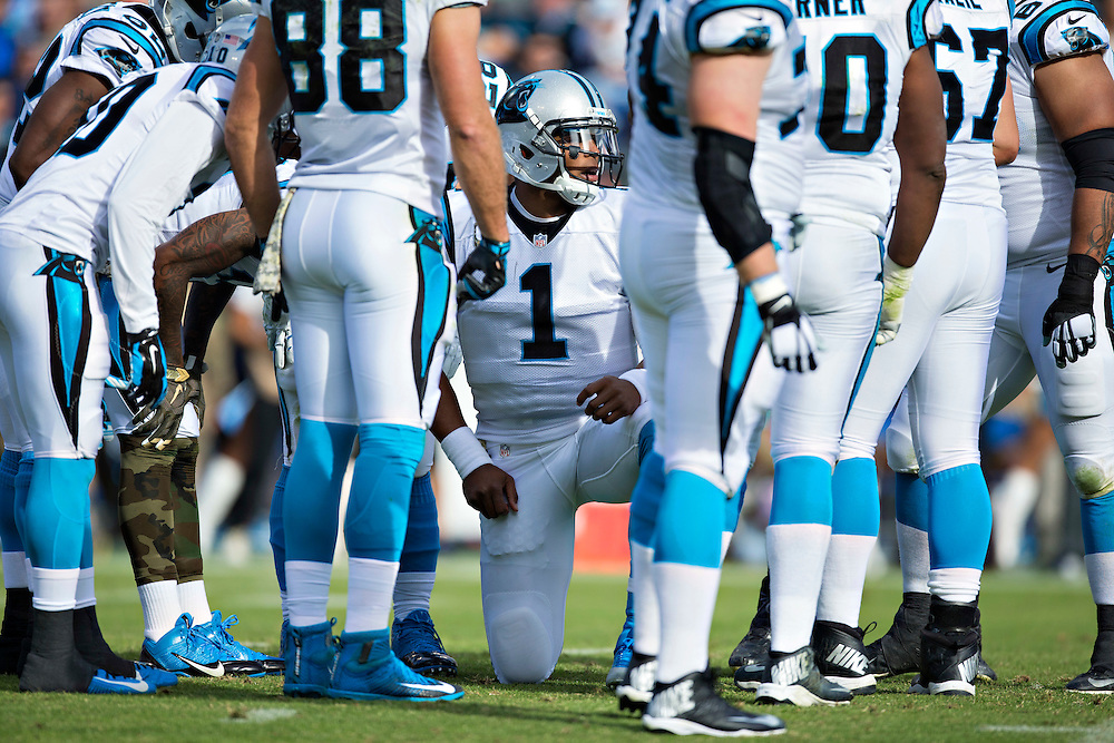 NASHVILLE, TN - NOVEMBER 15:  Cam Newton #1 of the Carolina Panthers in the huddle during a game against the Tennessee Titans at Nissan Stadium on November 15, 2015 in Nashville, Tennessee.  (Photo by Wesley Hitt/Getty Images) *** Local Caption *** Cam Newton