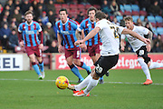 Bradford City defender Anthony McMahon scores from the pealty spot to go 1-0 up during the Sky Bet League 1 match between Scunthorpe United and Bradford City at Glanford Park, Scunthorpe, England on 21 November 2015. Photo by Ian Lyall.