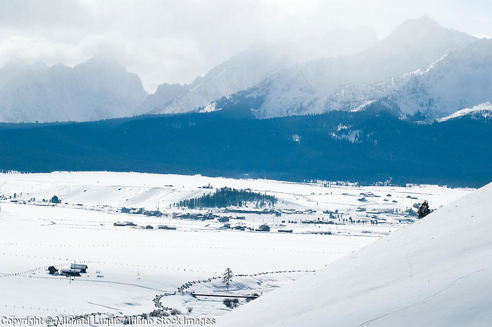 view of  the Stanley, Idaho and the Sawtooth Mts in winter.