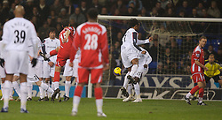 Bolton, England - Wednesday, January 31, 2007: Charlton Athletic's Talal El Karkouri scores the equalizer against Bolton Wanderers during the Premiership match at the Reebok Stadium. (Pic by David Rawcliffe/Propaganda)