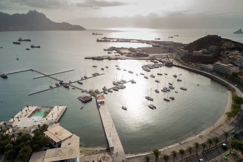 Aerial photo of the boat yard in São Vicente, Cabo Verde