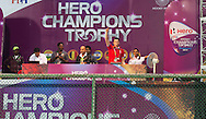 BHUBANESWAR  (INDIA) -  Sportspresenters on the podium. Netherlands vs India on day 3 of the Hero Champions Trophy Hockey.   Photo KOEN SUYK