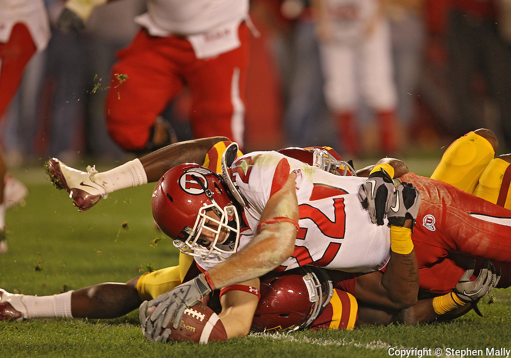 October 9 2010: Utah Utes running back Sausan Shakerin (22) dives for the end zone during the second half of the NCAA football game between the Utah Utes and the Iowa State Cyclones at Jack Trice Stadium in Ames, Iowa on Saturday October 9, 2010. Utah defeated Iowa State 68-27.