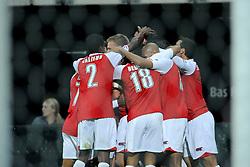 20-10-2009 VOETBAL: AZ - ARSENAL: ALKMAAR<br /> AZ in slotminuut naast Arsenal 1-1 / AZ viert feest. David Mendes da Silva schoot in de laatste seconden hard binnen<br /> ©2009-WWW.FOTOHOOGENDOORN.NL