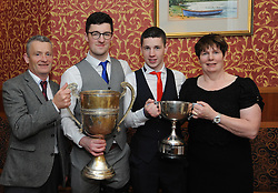Pictured at the Westport GAA Club dinner dance at Hotel Westport were Tom, Colm, Ronan and Mary Higgins with the Mayo Intermediate Cup and the Mayo Hurling league Cup.<br />