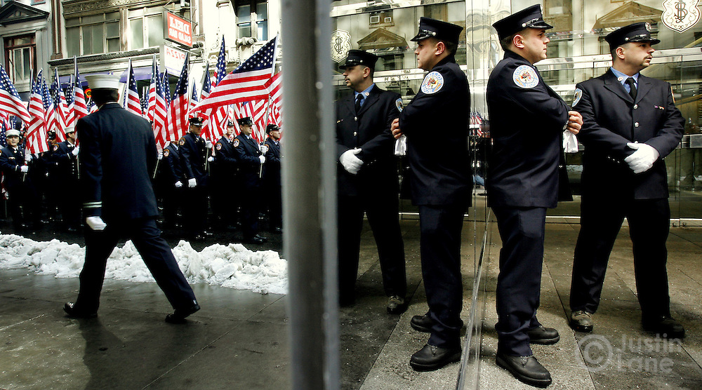 Firefighters wait to march in the 246th annual St. Patrick's Day parade in New York, New York on Saturday 17 March 2007. The annual event is the largest St. Patrick's Day Parade in the world.