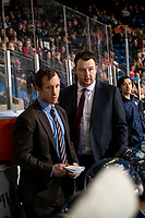 KELOWNA, BC - JANUARY 30: Seattle Thunderbirds' assistant coach Kyle Hagel stands on the bench next to head coach Matt O'Dette against the Kelowna Rockets at Prospera Place on January 30, 2019 in Kelowna, Canada. (Photo by Marissa Baecker/Getty Images)