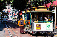 United States, California, San Francisco. The famous and unique San Francisco cable car system. At the turntable on Market-Powell.