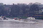 London. United Kingdom. 1998 Boat Race, Putney to Mortlake, Championship Course.  River Thames. 28.03.1998..Description: General views from Chiswick Bridge, as the Boat Race enters the closing stages of the race. ..Chiswick Bridge...Annual Varsity Boat Race - between Oxford University BC and Cambridge University BC. [Mandatory Credit; Peter Spurrier/Intersport-images]  ..Scanned in 2012 so has 2012  file No:.Rowing Varsity 2012 011114.jpg..Oxford.Bow - Charles.P.A.Humphreys,  J.B.Roycroft, J.Hecht, H.K.Nilsson, Edward.R.Coode, Andrew.J.R.Lindsay,  P.A.Berger, stroke - Nicholas J.Robinson, cox - Alex Greaney. .Cambridge.Bow - Graham.Smith,  P.A.Cunningham, J.G.Bull, Brad.Crombie, T.J.Wallace,  Alex Story,  Stefan F.Forster,  stroke - Marc.Weber, cox - Alistair J.Potts... 19980328 University, Varsity,  Boat Race. London. UK