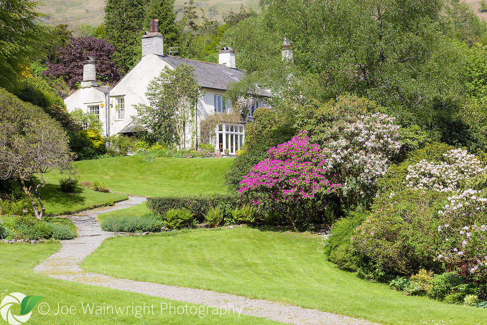 A path through the garden at Rydal Mount, Cumbria, once home to poet William Wordsworh. Photographed in May