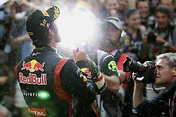 Mark Webber of Australia and Red Bull Racing celebrates winning the Monaco Formula One Grand Prix at the Circuit de Monaco, Sunday May 27, 2012 in Monte Carlo, Monaco. Photo By Imago/i-Images