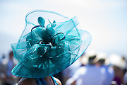 August 14-16, 2012 - Pebble Beach / Monterey Car Week. Woman in fancy hat at Pebble Beach Concours d'Elegance