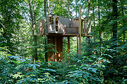 The tree house (Mestni Gozd, Mestni Hisa or Miklavski Hrib) in the Mestni Park forest above Celje, on 23rd June 2018, in Celje, Slovenia. The house was built using local money and EU funding and is used by local schools teaching nature and the environment and care of the woodland.