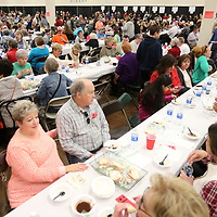 Area residents pack Building V of the Tupelo Furniture Market for the Salvation Army's 20th annual Empty Bowls Luncheon on Wednesday.