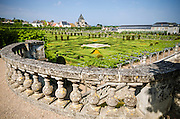 Stone railing and gardens, Chateau de Villandry, Villandry, Loire Valley, France