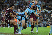 May 25th 2011: Jamie Soward of the Blues passes the ball during game 1 of the 2011 State of Origin series at Suncorp Stadium in Brisbane, Australia on May 25, 2011. Photo by Matt Roberts/mattrIMAGES.com.au / QRL