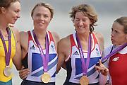 Eton Dorney, Windsor, Great Britain,..2012 London Olympic Regatta, Dorney Lake. Eton Rowing Centre, Berkshire.  Dorney Lake.  ..Women's Double Scull, medalist centre, left to right  AUS W2X.  Brooke PRATLEY. GBR W2X. Anna WATKINS, Katherine GRAINGER  and right POL W2X Magdalena FULARCZYK.. .12:48:42  Friday  03/08/2012   [Mandatory Credit: Peter Spurrier/Intersport Images]