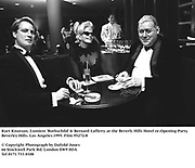 Kurt Knutson, Lumiere 'Rothschild' & Bernard Lafferty at the Beverly Hills Hotel re-Opening Party. Beverley Hills. Los Angeles.1995. Film 95272/8<br />