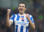 Brighton player Jamie Murphy celebrates after scoring the second goal during the Sky Bet Championship match between Brighton and Hove Albion and Milton Keynes Dons at the American Express Community Stadium, Brighton and Hove, England on 7 November 2015. Photo by Bennett Dean.