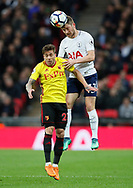 Ben Davies of Tottenham gets above Kiko Fernenia of Watford during the premier league match at Wembley Stadium, London. Picture date 30th April 2018. Picture credit should read: David Klein/Sportimage