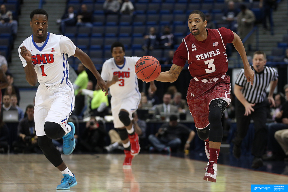 Jesse Morgan, (right), Temple, in action during the Temple Vs SMU Semi Final game at the American Athletic Conference Men's College Basketball Championships 2015 at the XL Center, Hartford, Connecticut, USA. 14th March 2015. Photo Tim Clayton