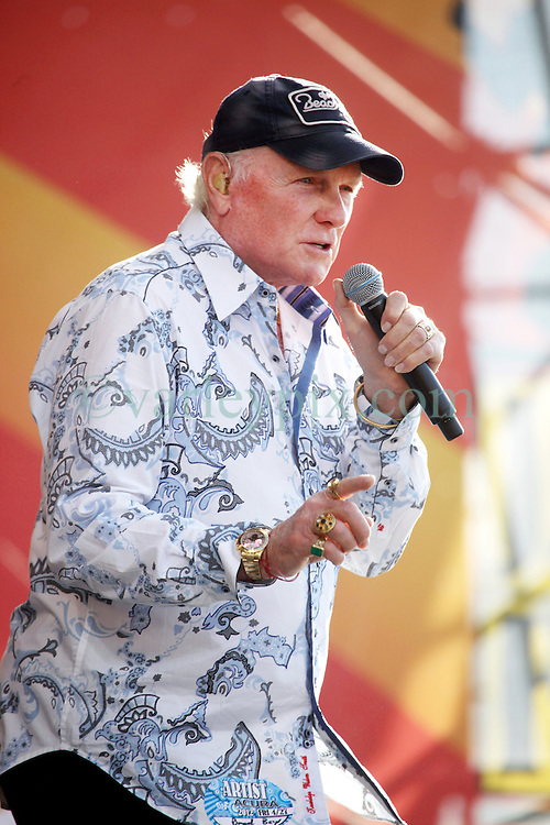 27 April 2012. New Orleans, Louisiana,  USA. .New Orleans Jazz and Heritage Festival. .A frail Brian Wilson takes to the stage. The Beach Boys take to the stage to kick off their 50th anniversary tour. .Photo; Charlie Varley.