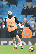 Jonjo Shelvey warms up during the Premier League match between Manchester City and Newcastle United at the Etihad Stadium, Manchester, England on 20 January 2018. Photo by George Franks.
