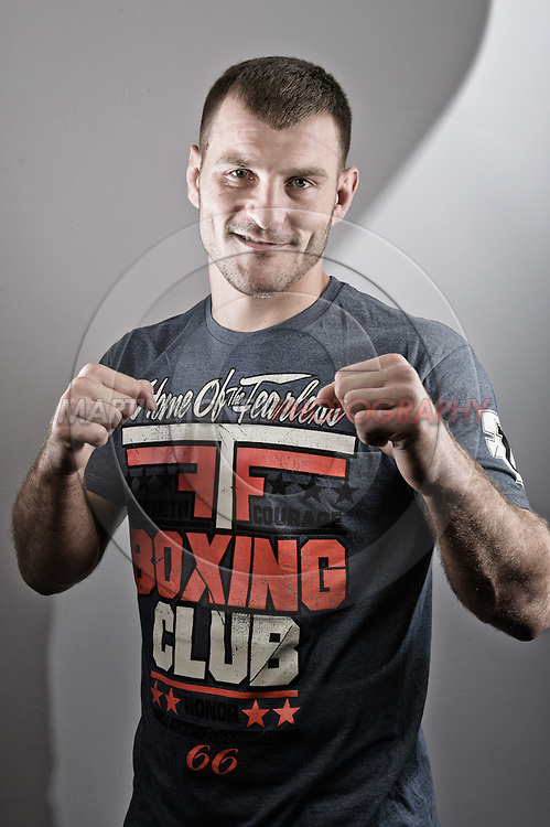 "NOTTINGHAM, ENGLAND, SEPTEMBER 27, 2012: A portrait of Stipe Miocic as taken at the pre-fight press conference ahead of ""UFC on Fuel TV: Struve vs. Miocic"" inside the Hilton Hotel in Nottingham , United Kingdom on Thursday, Septermber 27, 2012 © Martin McNeil"