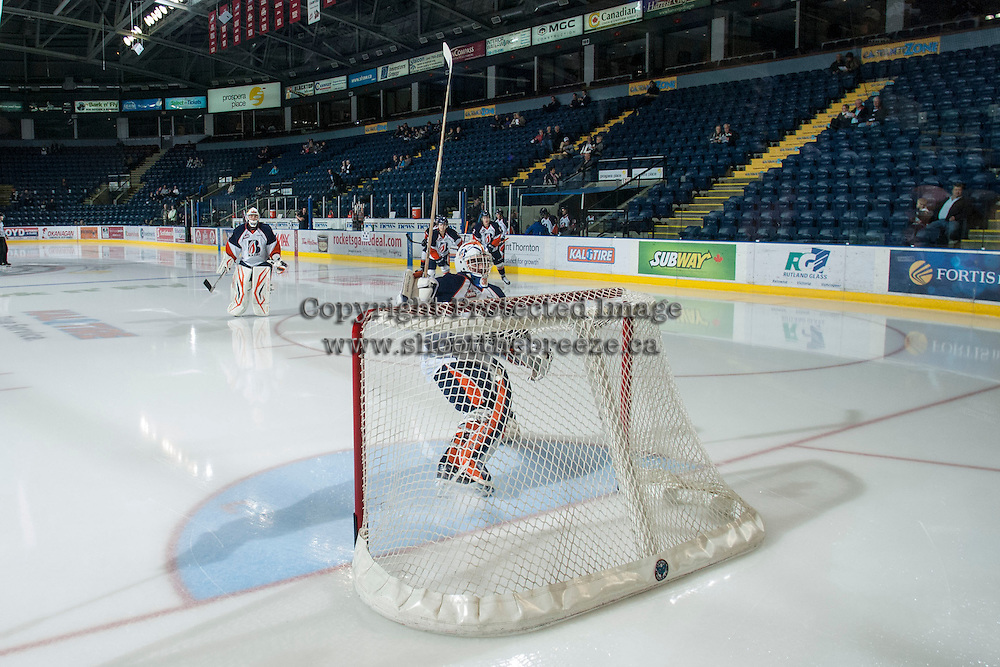 KELOWNA, CANADA - NOVEMBER 1:  Cole Cheveldave #38 of the Kamloops Blazers enters the ice as the Kamloops Blazers visit the Kelowna Rockets on November 1, 2012 at Prospera Place in Kelowna, British Columbia, Canada (Photo by Marissa Baecker/Shoot the Breeze) *** Local Caption ***