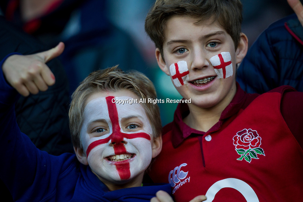 February 4th 2017, Twickenham, London, England;  6 Nations International rugby, England versus France; Young England fans pictured before kick-off