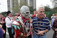 "Florida Governor Charlie Crist and ""a Mummer"" before the start of the 2007 Gasparilla parade in Tampa, Florida."