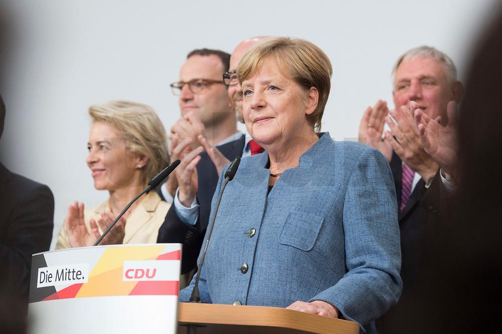 24 SEP 2017, BERLIN/GERMANY:<br /> Angela Merkel, CDU, Bundeskanzlerin, haelt eine Rede, Wahlparty in der Wahlnacht, Bundestagswahl 2017, Konrad-Adenauer-Haus, CDU Bundesgeschaeftsstelle<br /> IMAGE: 20170924-01-018<br /> KEYWORDS: Election Party, Election Night