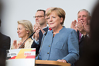 24 SEP 2017, BERLIN/GERMANY:<br /> Angela Merkel, CDU, Bundeskanzlerin, haelt eine Rede, Wahlparty in der Wahlnacht, Bundestagswahl 2017, Konrad-Adenauer-Haus, CDU Bundesgeschaeftsstelle<br /> IMAGE: 20170924-01-018<br /> KEYWORDS: Election Party, Election Night