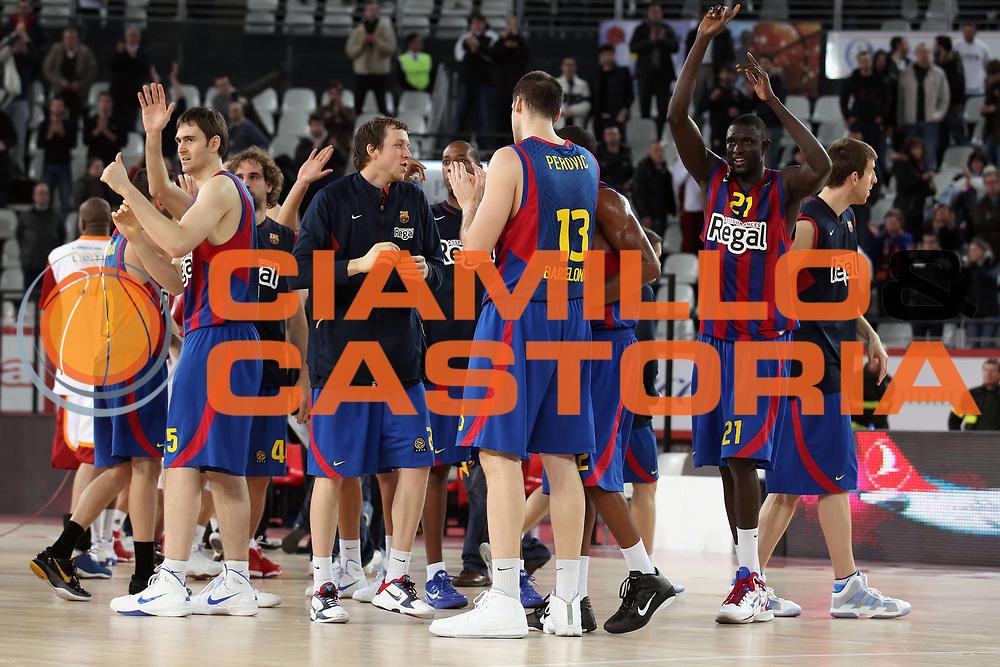DESCRIZIONE : Roma Eurolega 2010-11 Top 16 Lottomatica Virtus Roma Regal Barcelona Barcellona<br /> GIOCATORE : Kosta Perovic Erazem Lorbek Boniface Ndong<br /> SQUADRA : Regal Barcelona Barcellona<br /> EVENTO : Eurolega 2010-2011<br /> GARA : Lottomatica Virtus Roma Regal Barcelona Barcellona Barcelona<br /> DATA : 17/02/2011<br /> CATEGORIA : esultanza<br /> SPORT : Pallacanestro <br /> AUTORE : Agenzia Ciamillo-Castoria/ElioCastoria<br /> Galleria : Eurolega 2010-2011<br /> Fotonotizia : Roma Eurolega 2010-11 Top 16 Lottomatica Virtus Roma Regal Barcelona Barcellona<br /> Predefinita :