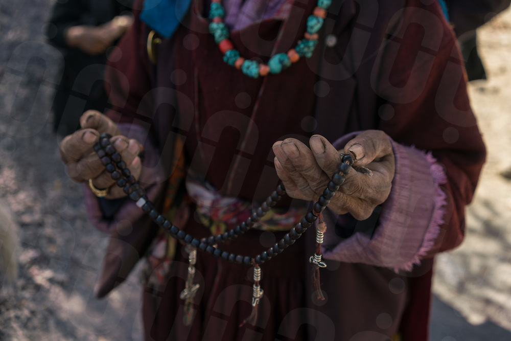 October 13 - 2016 - Leh, Ladakh (India). A woman with her praying necklace. © Thomas Cristofoletti / Ruom