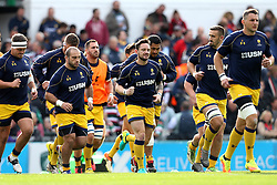 Worcester Warriors warm up for the Aviva Premiership fixture with Leicester Tigers - Mandatory by-line: Robbie Stephenson/JMP - 08/10/2016 - RUGBY - Welford Road Stadium - Leicester, England - Leicester Tigers v Worcester Warriors - Aviva Premiership