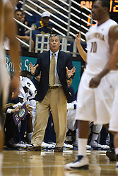November 16, 2010; Berkeley, CA, USA;  California Golden Bears head coach Mike Montgomery (center) on the sidelines during the first half against the Cal State Northridge Matadors at Haas Pavilion.