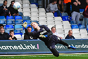 AFC Wimbledon Goalkeeper Aaron Ramsdale (35) warms-up ahead of the EFL Sky Bet League 1 match between Luton Town and AFC Wimbledon at Kenilworth Road, Luton, England on 23 April 2019.