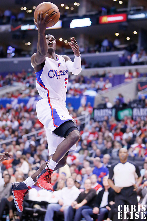 08 January 2014: Los Angeles Clippers point guard Darren Collison (2) goes for the layup during the Los Angeles Clippers 111-105 victory over the Boston Celtics at the Staples Center, Los Angeles, California, USA.