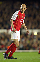Fotball<br /> Champions League 2004/05<br /> Arsenal v Panathinaikos<br /> 2. november 2004<br /> Foto: Digitalsport<br /> NORWAY ONLY<br /> Arsenal's dejected Pascal Cygan looks back at the ball in the back of the net after it deflected off him for the Panathinaikos equalizer