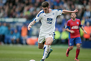 Cole Stockton (Tranmere Rovers) shoots and scores Tranmere Rovers' first goal of the game. 1-0 (4-0) during the Vanarama National League second leg play off match between Tranmere Rovers and Aldershot Town at Prenton Park, Birkenhead, England on 6 May 2017. Photo by Mark P Doherty.