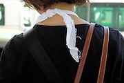 back of woman with a sling