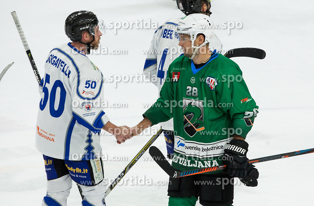 Christian Borgatello of Broncos and Ales Kranjc of SZ Olimpija after the ice hockey match between HK SZ Olimpija and WSV Sterzing Broncos Weihenstephan (ITA) in Round #12 of AHL - Alps Hockey League 2018/19, on October 30, 2018, in Hala Tivoli, Ljubljana, Slovenia. Photo by Vid Ponikvar / Sportida