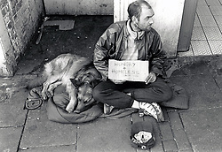 Homeless man begging, Nottingham UK 1990s