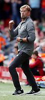 Football - 2018 / 2019 Premier League - Liverpool vs. West Ham United<br /> <br /> Jurgen Klopp manager of Liverpool celebrates the 1st goal scored by Mohamed Salah at Anfield.<br /> <br /> COLORSPORT